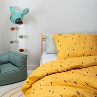 fresh&cokids Fresh&Co Kids Mini Stripes - Geel 100 x 135 cm Dekbedovertrek