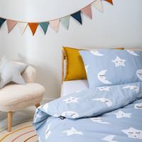 fresh&cokids Fresh&Co Kids Moon & Stars - Blauw 120 x 150 Dekbedovertrek