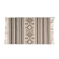 Xenos Vloerkleed azteken patroon - zwart/wit - 90x60 cm