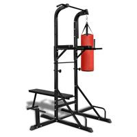 VidaXL Fitness apparaat kracht met bankje en boksbal