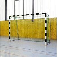 Sport-Thieme Zaalhandbaldoel 3x2 m, om in grondbussen te plaatsen met inklapbare netbeugels, Blauw-zilver, Vastgeschroefde hoekverbindingen