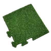 sporttrader Rubber Tegel met Kunstgras Toplaag - Hoekstuk - Puzzelsysteem - 50 x 50 x 2,2 cm