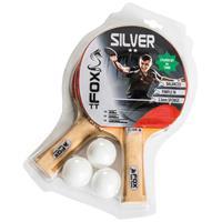Fox TT tafeltennisset Silver 2 Star 23 cm hout/rubber 5 delig