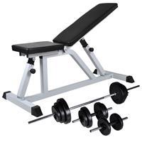 vidaXL Trainingsbank met halterset 30,5 kg