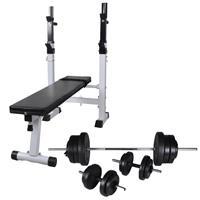 vidaXL Trainingsbank met gewichtenrek en halterset 60,5 kg