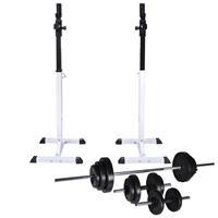 vidaXL Halter-/squatrek met halterset 30,5 kg
