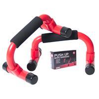 Gerimport - Fitness Push Up Steunen- Opdruksteunen - Push-up Bar 2 Stuks - Schuim - Rood/zwart - 22x14x12cm