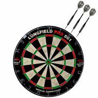 Longfield Games Dartbord Set Compleet Van Diameter 45.5 Cm Met 3x Black Arrow Dartpijlen Van 21 Gram - Sporten Darts