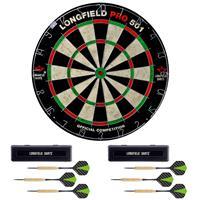 Longfield Games Dartbord Longfield Professional 45.5 Cm Met 6x Goede Kwaliteit Dartpijltjes - Darten Voor Thuis - Voordeelset