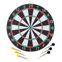 Merkloos Dartbord 42 Cm Met 6x Stuks Pijlen Set Compleet - Dubbelzijdig Familie Dartboard - Darten Voor Thuis