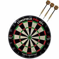Longfield Games Dartbord Set Compleet Van Diameter 45.5 Cm Met 3x Club Brass Dartpijlen Van 22 Gram - Professioneel Darten Pakket