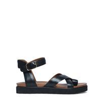 Manfield Leren plateau sandalen met gespsluiting zwart
