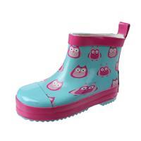 Playshoes korte regenlaarzen uilen blauw/roze 8