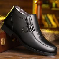 newchic Men Plush Lining Non Slip Metal Buckle Slip On Casual Leather Boots