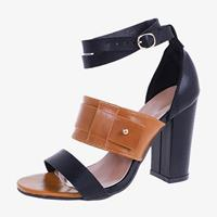 newchic Large Sizes Women Double Band Buckle Pumps Chunky Shoes