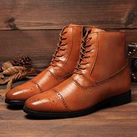 newchic Men British Style Brogue Microfiber Leather Zipper lace Up Ankle Bootes