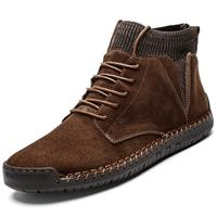 newchic Men Suede Fabric Splicing Hand Stitching Non Slip Casual Boots