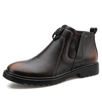 newchic Men Work Style Comfy Round Toe Slip Resistant Slip On Casual Ankle Leather Boots