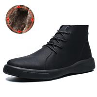 newchic Men Vintage Waterproof Comfort Warm Lining Lace Up Ankle Leather Boots