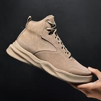 newchic Men Pure Color Non Slip Lace Up Casual Leather Boots