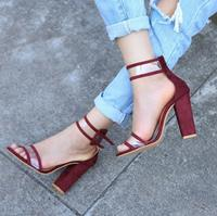 newchic Women Solid Color Chunky Heels Bukcle Sandals