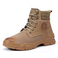newchic Men Suede Fabric Splicing Steel Toe Work Casual Safety Boots