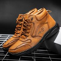 newchic Men Vintage Microfiber Leather Hand Stitching Ankle Boots