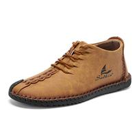 newchic Men Rubber Cap Toe Hand Stitching Lace Up Microfiber Leather Ankle Boots