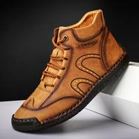 newchic Men Rubber Toe Cap Hand Stitching Microfiber Leather Ankle Boots