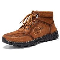 newchic Men Hand Stitching Outdoor Work Style Microfiber Leather Boots