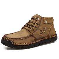 newchic Men Hand Stitching Microfiber Leather Soft Ankle Boots