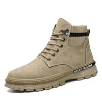 newchic Men Microfiber Leather Lace Up Work Style Elastic Sock Ankle Boots