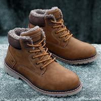 newchic Men Outdoor Slip Resistant Warm Plush Lining Waterproof Ankle Shoes