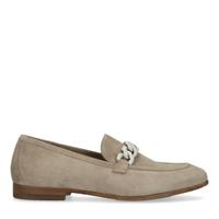 Manfield Taupe suède loafers met grove ketting