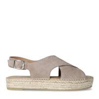 Manfield Grijze suède sandalen met gekruiste banden