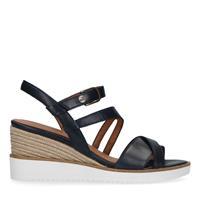 No stress Zwarte leren sandalen met sleehak
