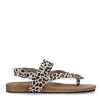 Manfield Beige sandalen met cheetahprint