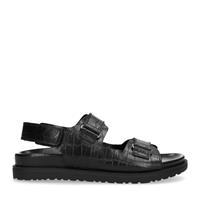 Manfield Zwarte plateau sandalen met crocoprint