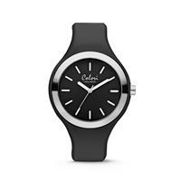 Colori Horloge Macaron staal/siliconen zilverkleurig-zwart 44 mm 5-COL503