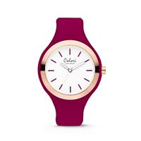 Colori Horloge Macaron staal/siliconen bordeauxrood 44 mm 5-COL509