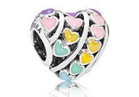 Pandora Bedel zilver Multi-colour Heart 797019ENMX