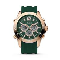Colori Horloge Urban staal/siliconen rosé-groen 47 mm 5-CLD077