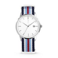 Colori Horloge Connaisseur staal/nylon blauw-wit-rood 40 mm 5-COL496