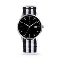 Colori Horloge Connaisseur staal/nylon zwart-wit 40 mm 5-COL498