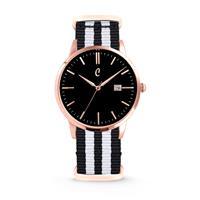 Colori Horloge Connaisseur staal/nylon zwart-wit 40 mm 5-COL500