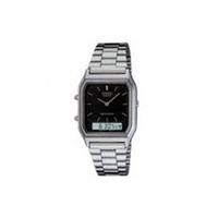 Casio analoog en digitaal vierkant horloge in zilver AQ230A-1DS - Zilver