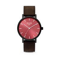 Frank 1967 Horloge van met rode wijzerplaat en donkerbruine horlogeband zwart