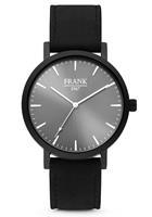 7FW-0015 - Stalen horloge met lederen band - grijs en zwart - Ø 42 mm