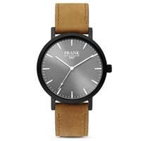 7FW-0016 - Stalen horloge met lederen band - grijs en bruin - Ø 42 mm