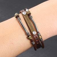 newchic Vintage Leather Metal Pendant Multilayer Bracelets Punk Casual Accessories Gift for Men